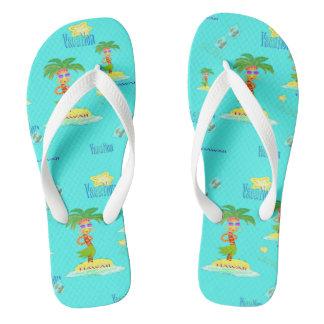 Hula Palm (vacation pattern) flip-flops Flip Flops