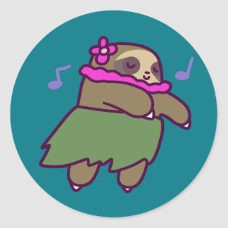 Hula Sloth Classic Round Sticker