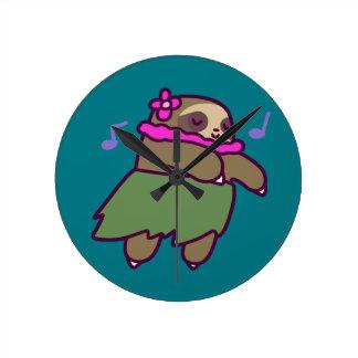 Hula Sloth Round Clock
