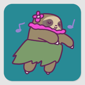 Hula Sloth Square Sticker