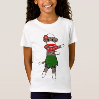 Hula Sock Monkey - Girls Baby Doll (Fitted) T-Shirt