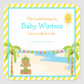 Hula Tropical Boy Baby Shower Bookplate Square Sticker