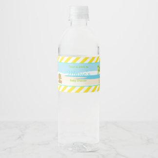 Hula Tropical Boy Baby Shower Water Bottle Label