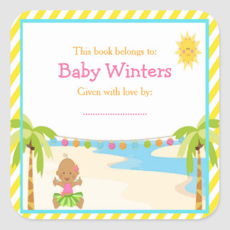 Hula Tropical Girl Baby Shower Bookplate Square Sticker