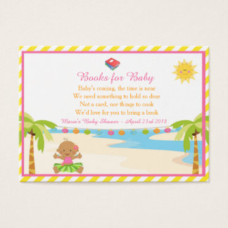 Hula Tropical Girl Book Request for Baby Shower Business Card