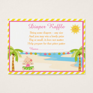 Hula Tropical Girl Diaper Raffle Business Card