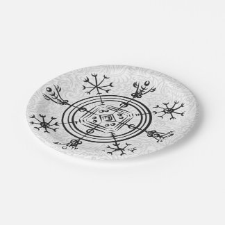 Hulinhjalmur Icelandic magical sign Paper Plate