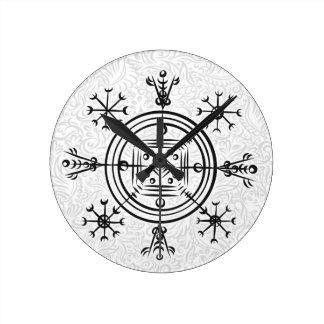 Hulinhjalmur Icelandic magical sign Round Clock
