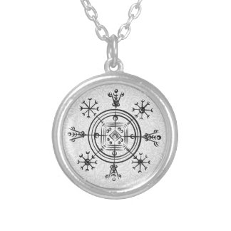 Hulinhjalmur Icelandic magical sign Silver Plated Necklace