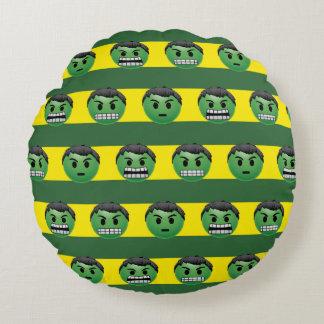 Hulk Emoji Stripe Pattern Round Pillow