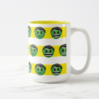 Hulk Emoji Stripe Pattern Two-Tone Coffee Mug