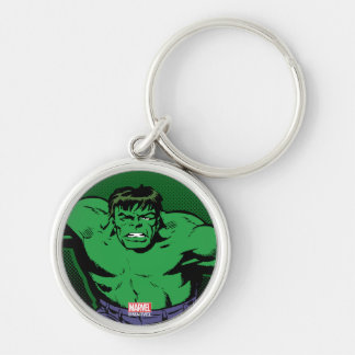 Hulk Retro Arms Silver-Colored Round Keychain