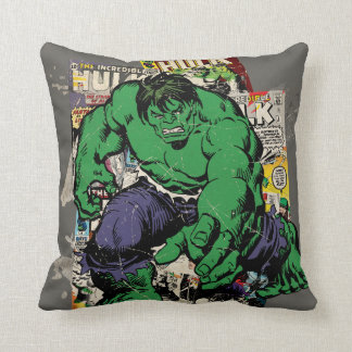 Hulk Retro Comic Graphic Throw Pillow
