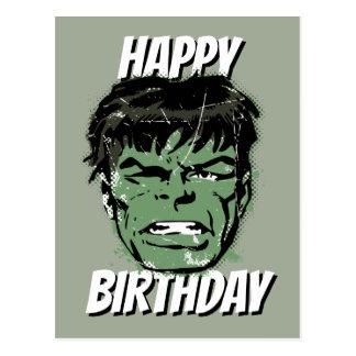 Hulk Retro Comic Halftone Head Postcard