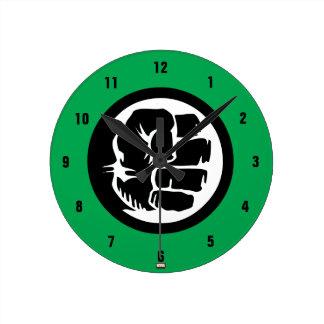 Hulk Retro Fist Icon Round Clock