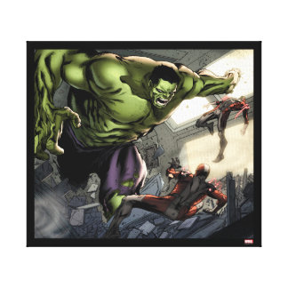 Hulk Smashing His Enemies Canvas Print