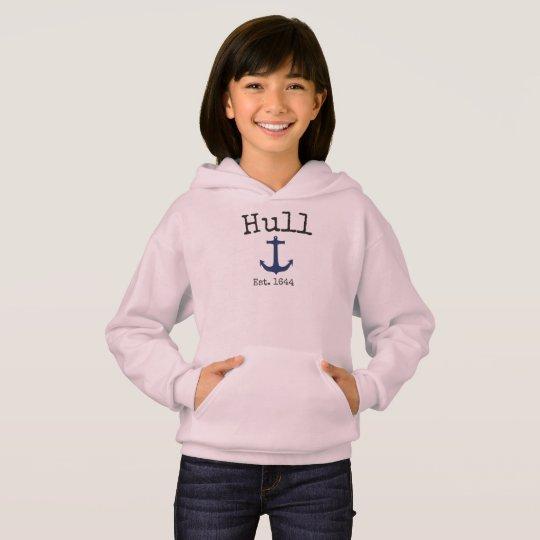 Hull Massachusetts Pink hoodie for girls.
