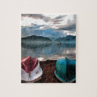 Hulls of Boats And Marmaris Winter Seascape Puzzle