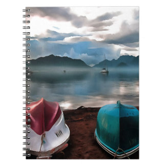 Hulls of Boats And Marmaris Winter Seascape Spiral Notebook