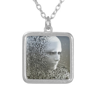 Human Abstract Art Silver Plated Necklace