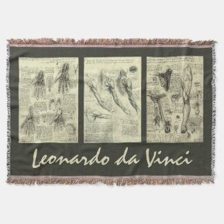 Human Anatomy by Leonardo da Vinci Throw Blanket
