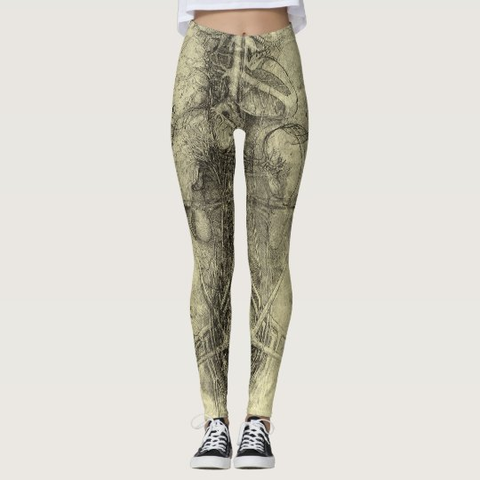 Human Anatomy, Female Torso by Leonardo da Vinci Leggings