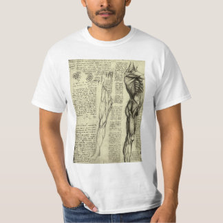 Human Anatomy Male Muscles by Leonardo da Vinci T-Shirt