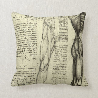 Human Anatomy Male Muscles by Leonardo da Vinci Throw Pillows