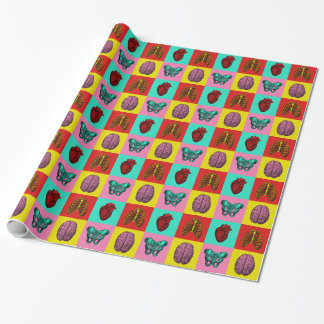 Human Anatomy Pop Art Wrapping Paper - Brain Heart