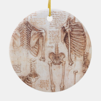 Human Anatomy Skeletons by Leonardo da Vinci Ceramic Ornament