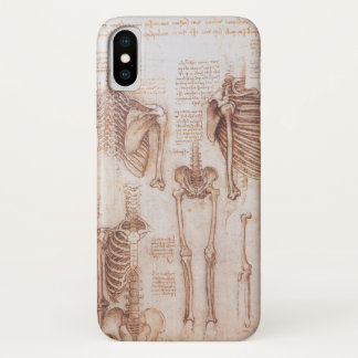 Human Anatomy Skeletons by Leonardo da Vinci iPhone X Case
