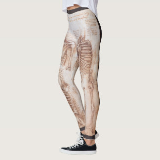 Human Anatomy Skeletons by Leondardo da Vinci Leggings