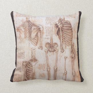 Human Anatomy Skeletons by Leondardo da Vinci Pillow