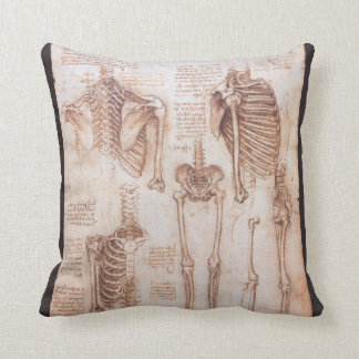 Human Anatomy Skeletons by Leondardo da Vinci Throw Pillow