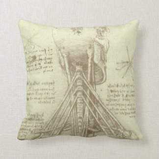Human Anatomy Spinal Column by Leonardo da Vinci Throw Pillow