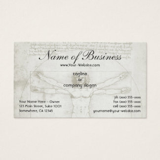 Human Anatomy, Vitruvian Man by Leonardo da Vinci Business Card