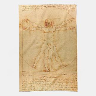 Human Anatomy, Vitruvian Man by Leonardo da Vinci Kitchen Towel