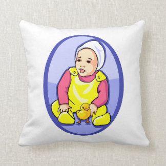 human baby with chick blue oval yellow.png pillow