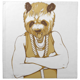human bear with tongue napkin