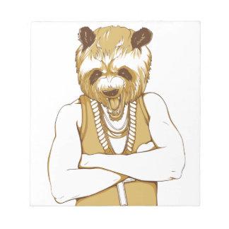 human bear with tongue notepad