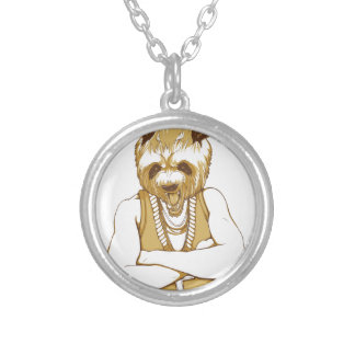 human bear with tongue silver plated necklace