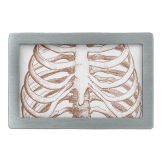 human bones rectangular belt buckles