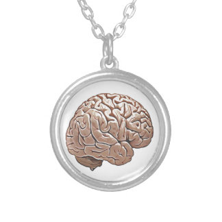 human brain silver plated necklace