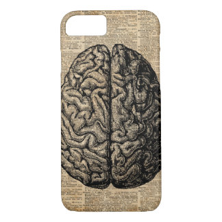 Human Brain Vintage Illustration Dictionary Art iPhone 8/7 Case