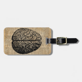 Human Brain Vintage Illustration Dictionary Art Luggage Tag