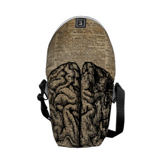 Human Brain Vintage Illustration Dictionary Art Messenger Bag