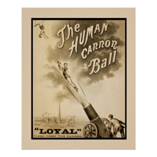 Human Cannon Ball Vintage Poster