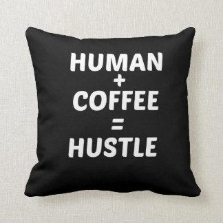 Human + Coffee = Hustle Black Typography Pillow