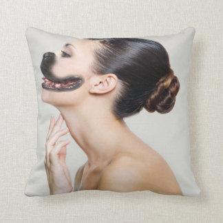 Human Dog Throw Pillows