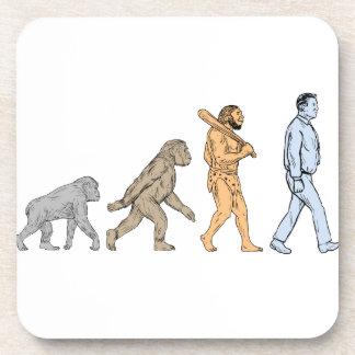 Human Evolution Walking Drawing Coaster